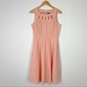 Voodoo Vixen Peach Gingham Swing Retro Dress